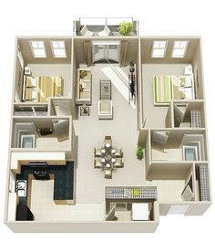 25 Two Bedroom House/Apartment Floor Plans | Pinterest | Apartment ...