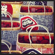 #kago#shoppingbaskets#handpainted#linedup#and#drying#papergluebamboo#pre-season#shoot#daruma#manekineko#karakusa#yellow#red#bluenwhite#pgb#autumn#winter#2013