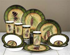 Melamine Dinnerware Set 12 PC Cabin Lodge RV Plates Country Pine Pinecone Dining & Cabin Dinnerware | Rustic Dinnerware - Western Dinnerware ...