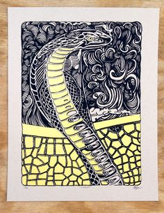 """Cobra Snake Screen Print, Cobrah. To be a snake charmer is a wandering existence. In India, many men travel the countryside with bare minimums, working as street performers all day long, hanging with their """"cobrahs""""! This print is a 2 color screen print on 100lb. Kraft Speckletone cover stock by French Paper. Each print measures 11"""" x 14"""" and is sold unframed. A limited edition of 50 has been printed, signed and hand numbered. Domestic shipping is included."""