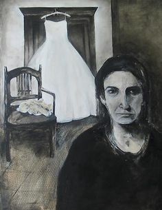 """Haleh Jamali ~ """"Wedding Dress Hangs There"""" Mixed media on canvas via artclvb 