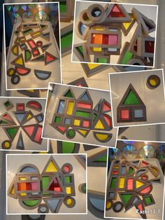 """Pattern making, building & colour mixing with rainbow blocks on the homemade lightbox... from Rachel ("""",)"""