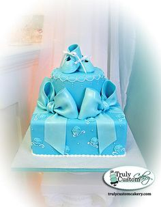 Booties & Bows Baby Shower Cake - Blue - Cake by TrulyCustom