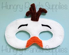 Snowman Mask Embroidery Design, felt snowman mask, frozen costume, olaf mask, in the hoop design