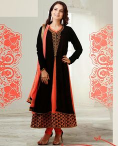 Black and orange jacket style suit   1. Black and orange georgette jacket style suit2. Golden embroidery on neckline 3. Thread embroidered border on hemline 4. Comes with matching bottom and dupatta5. Can be stitched upto size 42 inches