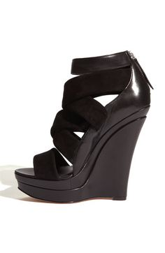 Rachel Zoe Wedges! love the matte and patent combo would go with everything!