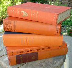 Vintage Tangerine Books Orange Library Decor 5 Book Stack. $ 30.00, via Etsy.