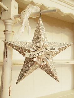 """Etsy Transaction - Chrismas Ornament with Banner """"MERRY & BRIGHT""""- Silver Glass Glitter Star"""