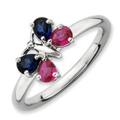 Sterling Silver Sapphire Ruby Stackable Butterfly Ring Jewelry Available Exclusively at Gemologica.com