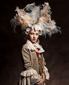 Marie Antoinette by Vincent Alvarez for Aestus Magazine Inspiration. Marie Antoinette b Mode Rococo, Mode Baroque, Rococo Style, Rococo Fashion, Fashion Art, Editorial Fashion, Fashion Fashion, High Fashion, Fashion Shoes