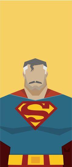 Aged Hero Illustrations #superman #batman #darkknight #kryptonian #elderly #studmuffin #heroes