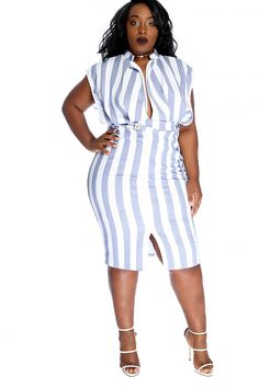 Look sultry in this sexy knee length plus size party dress. The features includes a two tone vertical stripe pattern, plunge neckline, sleeveless, empire banded trim, slit front, followed by a curve hugging fit. 95% Polyester 5% Spandex Made in USA.