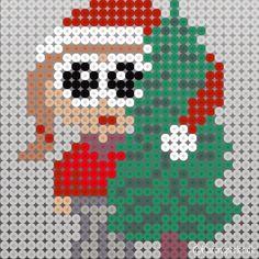 Juletræ nisser i hama perler Hama Beads Design, Hama Beads Patterns, Beading Patterns, Christmas Perler Beads, Christmas Cross, Christmas Diy, Xmas, Bead Crafts, Diy And Crafts