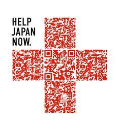 """""""Help Japan Now."""" als individualisierter QR-Code. Gut gemacht, ein paar mehr Designtipps ohne Agentur gibt's hier: http://mobilebrandblog.wordpress.com/2011/12/30/grafisch-individualisierte-qr-codes-selbst-erstellen/"""