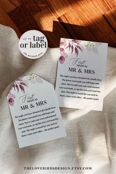 """Get your hands on these first year of marriage wine labels and tags. Its a very unique wedding gift. Perfect for bridesmaids or the groomesman. You can change the whole template to your liking and save 20% with code """"PIN20"""" Wine Tags, Wine Labels, Unique Wedding Gifts, Unique Weddings, Printable Templates, Printables, Wedding Signs, Diy Wedding, First Year Of Marriage"""