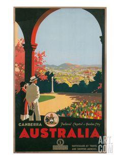 Australia Travel Poster, Canberra Premium Poster at Art.com