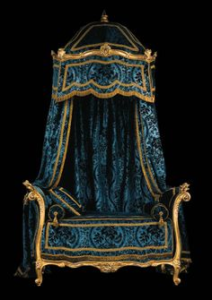 Velvet Draped Ornate Antique Bed, dark greenish blue.  In another fantasy lifetime, but I wouldn't mind some bed curtains inspired by these!