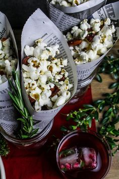 Popcorn with Rosemary Butter and Honey-Chipotle Almonds | {Katie at the Kitchen Door}