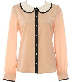 Peter Pan Blouse: Features a charming peter pan collar with classic black-and-white motif, long well-tailored sleeves with adorable piped cuffs, glossy pearl-esque buttons cascading down front-center, and a basic straight silhouette to finish.