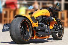 Harley Davidson Dragster RS tribute bike to Lamborghini by Thunderbike Custom Motorcycles Bobber Motorcycle, Moto Bike, Cool Motorcycles, Motos Harley Davidson, Vrod Harley, Harley Bikes, Harley Gear, Custom Street Bikes, Custom Bikes
