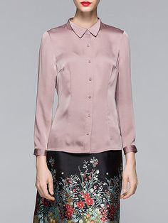 Shop Blouses - Pink Long Sleeve Solid Polyester Blouse online. Discover unique designers fashion at StyleWe.com.