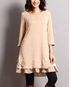 Another great find on #zulily! Mocha Cable-Knit Ruffle-Hem Tunic #zulilyfinds