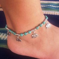 Fabal New Vintage Women Ankle Bracelets Bohemian Foot Jewelry Turquoise Beads Alloy Anklets 1PC