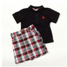 Toddler Boy 2 Piece Polo & Plaid Short set now on sale at http://ilovebabyclothes.com/?page_id=198