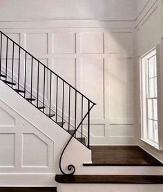Elegant and Understated Railing and Paneling by (insta Interior Design, Metal Railing, Wall Panelin… – staircase Foyer Staircase, Staircase Design, Stair Design, Staircase Makeover, Curved Staircase, Wrought Iron Stair Railing, Entry Stairs, Staircase Remodel, Metal Railings