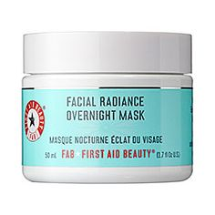 Sephora: First Aid Beauty : Facial Radiance Overnight Mask : face-mask - skin was positively glowing the next morning. personally liked the results even better when I washed it off before bed (they suggest wearing it all night) — but left it on for at least three hours. The gentle formula is absolutely amazing for dry, sun-drained skin.