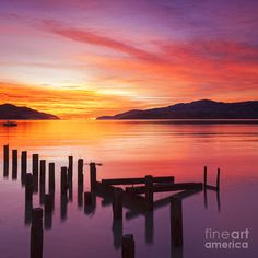 size: Photographic Print: Beautiful Sunset with Colours of Red, Orange and Yellow, over Governors Bay, Looking by Travellinglight : Sunset Images, Sunset Photos, Sunset Calendar, Pink Sunset, Beach Landscape, Beautiful Sunset, Sunrise, Scenery, Colours