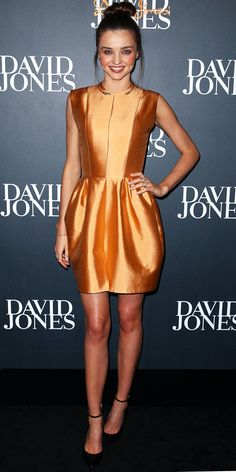 Kerr walked the David Jones runway in a metallic minidress and ankle-strap heels.