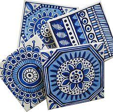 Design, pattern, colour Textile and surface pattern design Painting Ceramic Tiles, Geometric Painting, Madhubani Art, Pottery Classes, Bottle Art, Hand Painted Ceramics, Surface Pattern Design, Painting Patterns, Pebble Art
