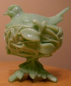 Westmorland Jadeite Bird on A Nest Candy Dish | eBay