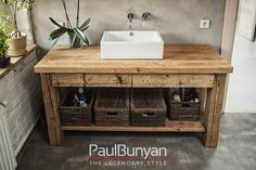Szafka pod umywalkę ze starego drewna - model TS2 Szafki łazienkowe ze starego…