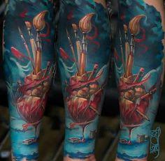 Amazing piece by Tymur Denysenko #heart #art #tattoo