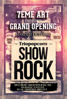 Place de l'hôtel de ville marie d'Alès - café le 7ème art - concert rock groupe triopopcorn - musiciens et animation musicale gard occitanie
