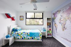 #15 - 'Hartpury' Lovely bedroom for future travellers. The painted world map on the wall is perfect to plan new adventures!