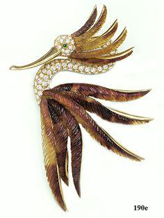 Carved Horn, Diamond, Emerald, Gold, Brooch, Steele