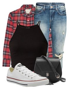 """Flannel around Waist"" by newyearscutie ❤ liked on Polyvore featuring R13, Yoki and Converse"