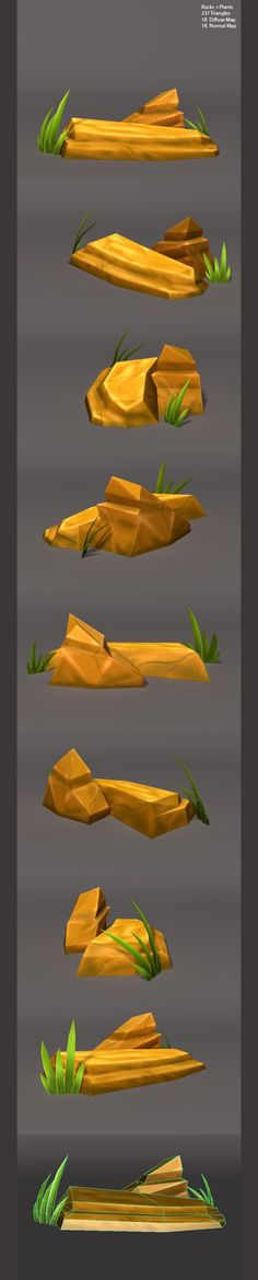 Low Poly Rocks and Plants - 3d objects