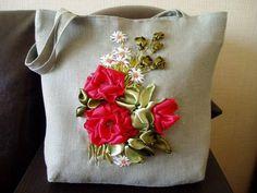 Ribbon embroidery, purse