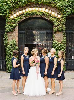 Sweet chic navy bridesmaids Photography: O'Malley Photographers - www.omalleyphotographers.com