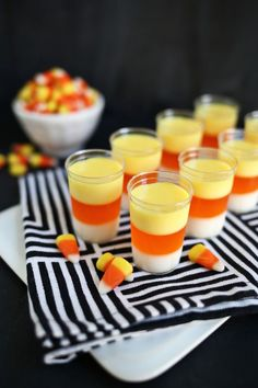Candy Corn Jell-O Shots  - CountryLiving.com
