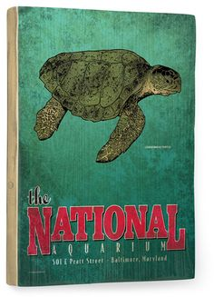 National Aquarium Sea Turtle Vintage Beach Sign: Beach Decor, Coastal Home Decor, Nautical Decor, Tropical Island Decor & Beach Cottage Furnishings