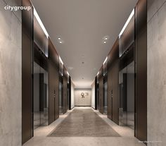 Elevator lobby like this would need a 1 hour fire separation Hall Hotel, Hotel Hallway, Hotel Corridor, Elevator Lobby Design, Corridor Design, Lift Design, Office Lobby, Lobby Lounge, Elevator