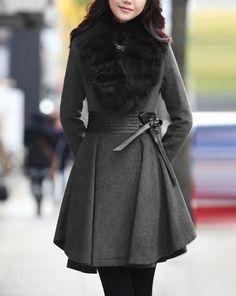 Abrigo Con Mangas Largas Piel Cuero de la PU Con Cinturón Estilo Ladylike para Mujeres