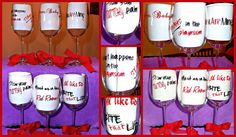 50 Shades of Grey  Wine Glass Party Pack of 6 by TextuallyPreppy, $84.00