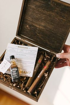 """Wedding Gifts Diy Something for the guys - a great way to ask your groomsmen. What man can turn down whiskey and cigars? - DIY """"Will You Be My Groomsman? Groomsmen Boxes, Groomsmen Proposal, Bridesmaids And Groomsmen, Groomsmen Presents, Bridesmaid Gifts, Wedding Groom, Our Wedding, Dream Wedding, Wedding Ideas"""