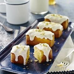 A Lakeland recipe for Lemon Polenta Mini Loaves With Yoghurt Frosting and Lemon Curd, happy cooking!